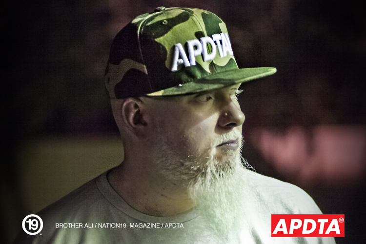 Brother Ali wearing a APDTA Camo snapback for Nation19 Magazine / APDTA