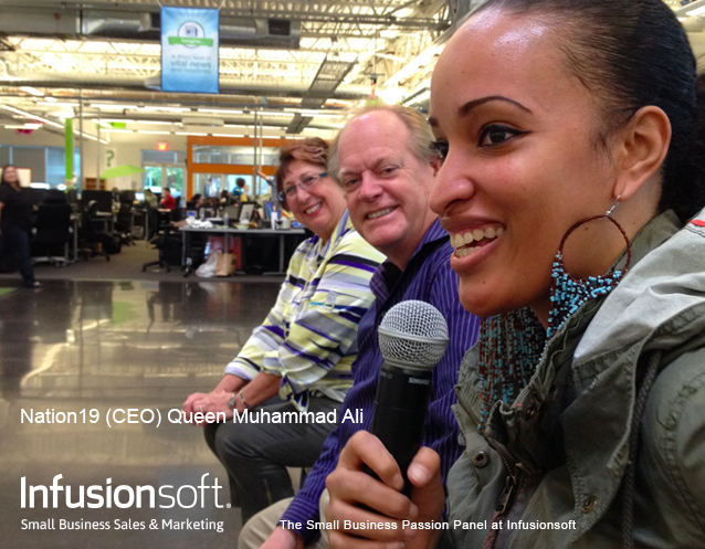Queen Muhammad Ali (CEO Mobile Regime, LLC / Nation19) speaks to the new Infusionites @ The Small Business Passion Panel at Infusionsoft